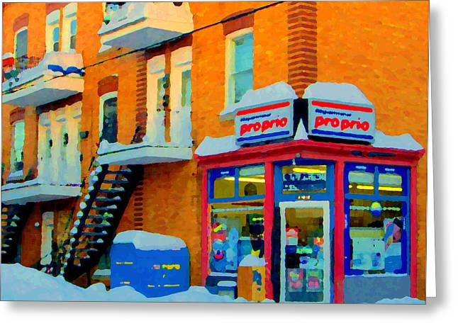 Verdun Food Greeting Cards - Streets Of Verdun Corner Depanneur Proprio Staircases In Winter Montreal City Scene Carole Spandau Greeting Card by Carole Spandau