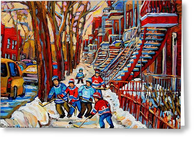 Montreal Hockey Scenes Greeting Cards - Streets Of Verdun Hockey Art Montreal Street Scene With Outdoor Winding Staircases Greeting Card by Carole Spandau