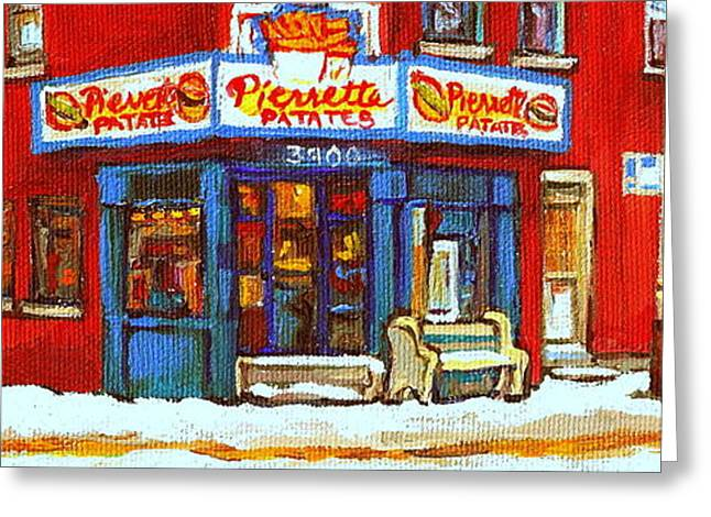 Verdun Connections Greeting Cards - Streets Of Verdun Hockey Game At Famous Verdun Restaurant Pierrette Patates Montreal Hockey Art  Greeting Card by Carole Spandau