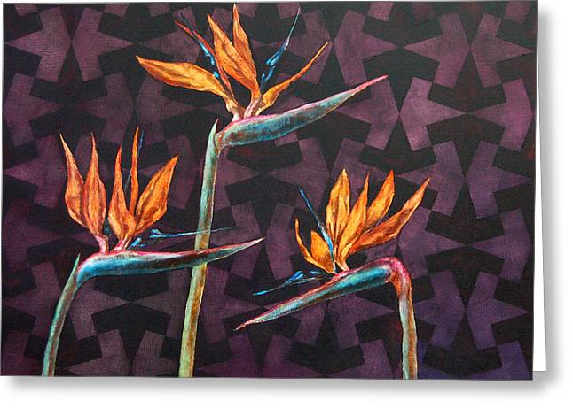 Strelitzia Paintings Greeting Cards - Strelitzia Greeting Card by Agnese Spridzane