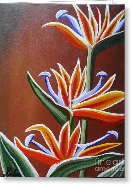 Strelitzia Paintings Greeting Cards - Strelitzia Greeting Card by Elena  Constantinescu