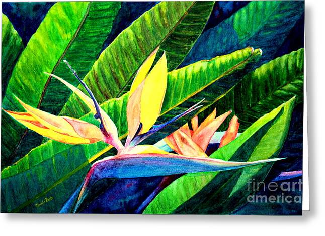 Strelitzia Paintings Greeting Cards - Strelitzia Greeting Card by Ursula Reeb
