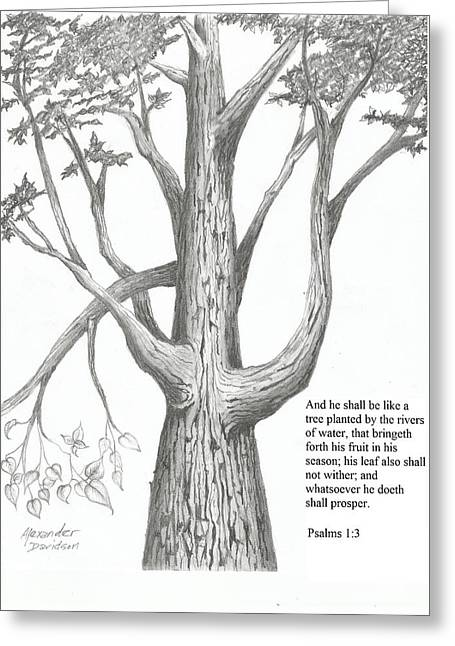 Scripture Drawings Greeting Cards - Strength  Greeting Card by Alexander Davidson