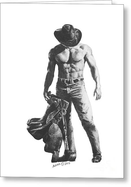 Black Boots Drawings Greeting Cards - Strength of a Cowboy Greeting Card by Marianne NANA Betts