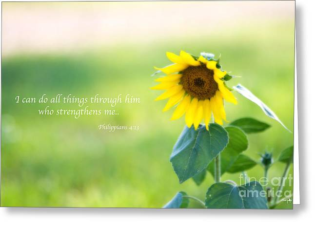Sunflower Joy Greeting Cards - Strengthened by Grace Greeting Card by Scott Pellegrin