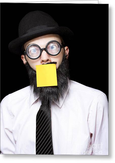 Censored Greeting Cards - Stressed Mad Scientist With Sticky Note On Face Greeting Card by Ryan Jorgensen