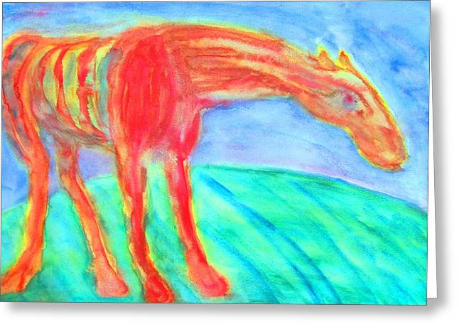 Sweating Paintings Greeting Cards - Stretch my neck  Greeting Card by Hilde Widerberg