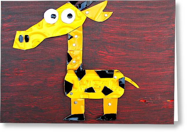 Metal Art Greeting Cards - Stretch the Giraffe License Plate Art Greeting Card by Design Turnpike