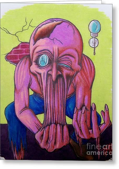 Psycho Drawings Greeting Cards - Stretching The Truth Greeting Card by Michael  TMAD Finney