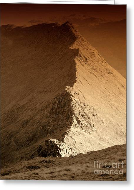 Wainwright Greeting Cards - Striding Edge Greeting Card by Linsey Williams