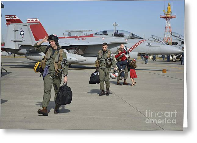 Super Girl Photographs Greeting Cards - Strike Fighter Squadron Officers Greeting Card by Stocktrek Images