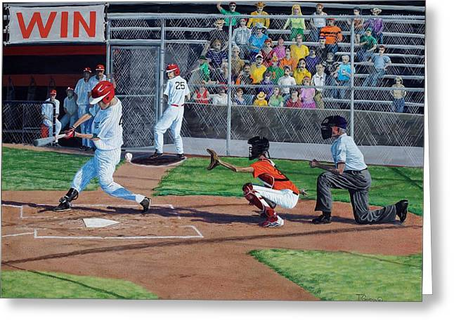 Batter Paintings Greeting Cards - Strike Greeting Card by Timithy L Gordon