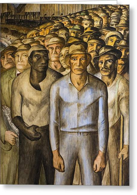 Great Depression Greeting Cards - Striking Miners Mural in Coit Tower Greeting Card by Adam Romanowicz