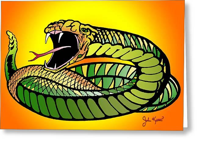 Johnkeaton Greeting Cards - Striking Snake Greeting Card by John Keaton