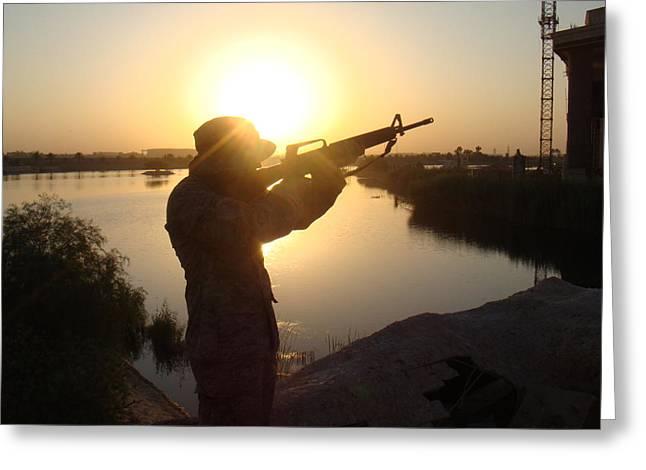 Baghdad Greeting Cards - Striking Sunset Greeting Card by Sharla Fossen