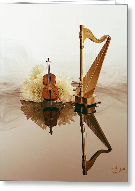 Duet Greeting Cards - String Duet Greeting Card by Judi Quelland