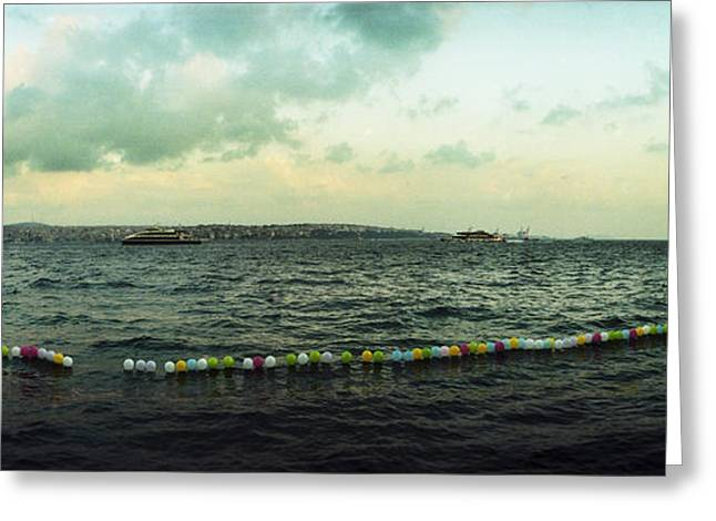 Marmara Greeting Cards - String Of Balloons On The Bosphorus Greeting Card by Panoramic Images