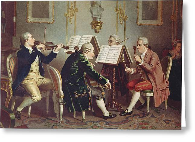 Wig Greeting Cards - String Quartet Colour Litho Greeting Card by Austrian School