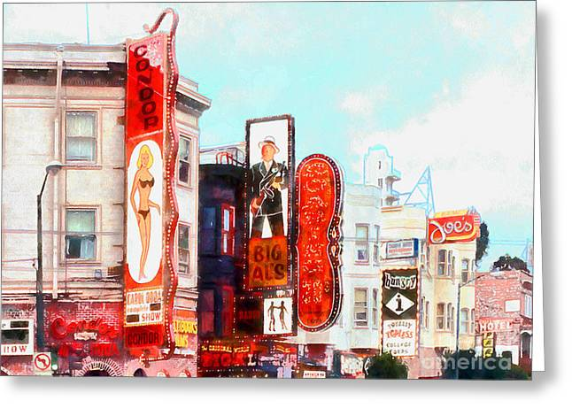 Downtown San Francisco Greeting Cards - Strip Club Carol Doda Condor Broadway San Francisco 20150127wcstyle hor Greeting Card by Wingsdomain Art and Photography
