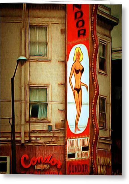 Long Street Greeting Cards - Strip Club Carol Doda Condor Broadway San Francisco 20150127brun Greeting Card by Wingsdomain Art and Photography