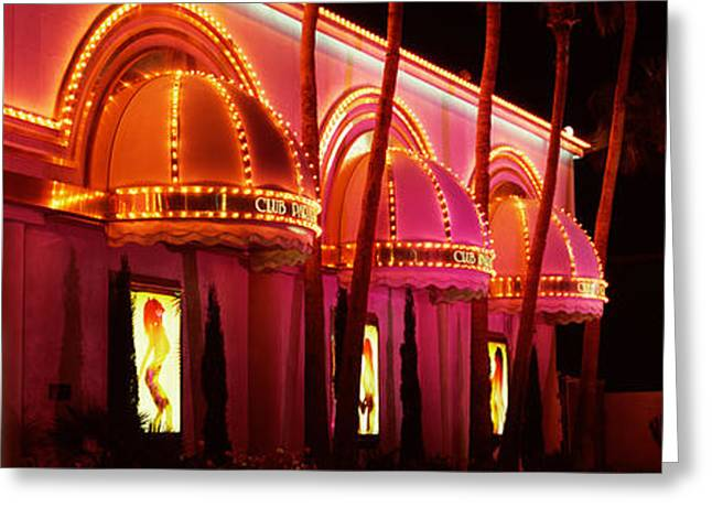 Club Scene Greeting Cards - Strip Club Lit Up At Night, Las Vegas Greeting Card by Panoramic Images