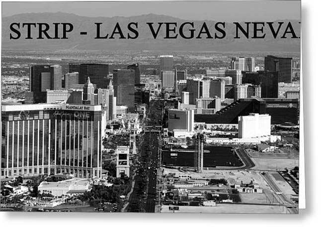Las Vegas Art Greeting Cards - Las Vegas Strip with text Greeting Card by David Lee Thompson