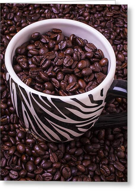 Stripes Greeting Cards - Striped Coffee Cup Greeting Card by Garry Gay