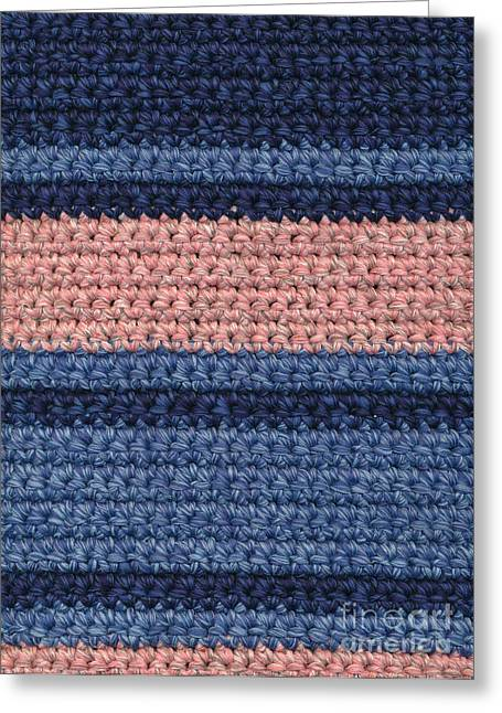 Background Tapestries - Textiles Greeting Cards - Striped Crochet Cloth Greeting Card by Kerstin Ivarsson