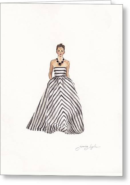 Fashions Greeting Cards - Striped Glamour Greeting Card by Jazmin Angeles