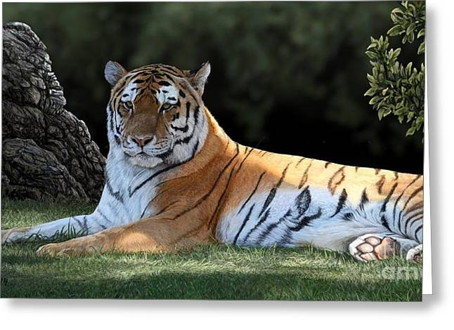 Tigers Digital Greeting Cards - Striped Light Greeting Card by Laura Klassen