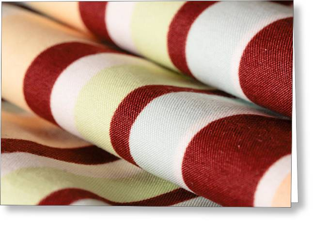 Rag Paper Greeting Cards - Striped material Greeting Card by Tom Gowanlock