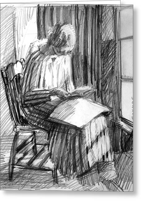 Reading By Window Greeting Cards - Striped Robe Greeting Card by Mark Lunde