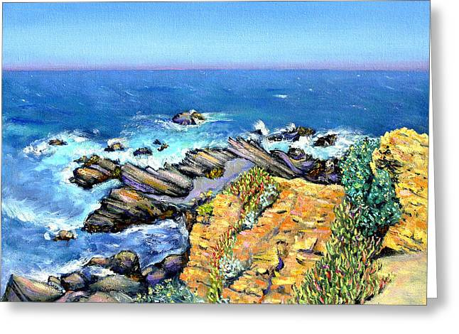Striped Rocks Near Timber Cove Greeting Card by Asha Carolyn Young