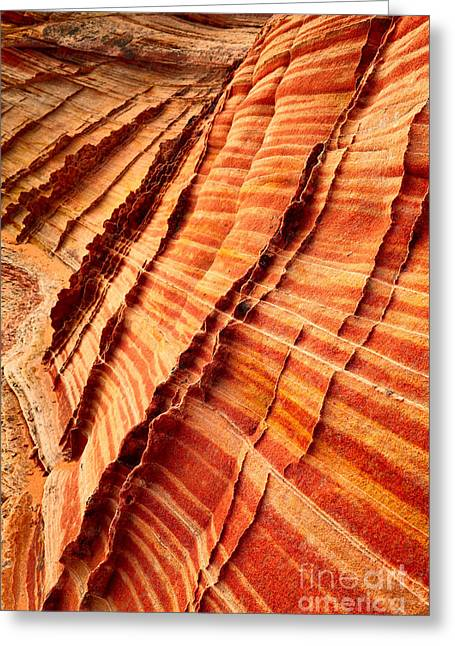 Geology Photographs Greeting Cards - Striped Sandstone Greeting Card by Inge Johnsson