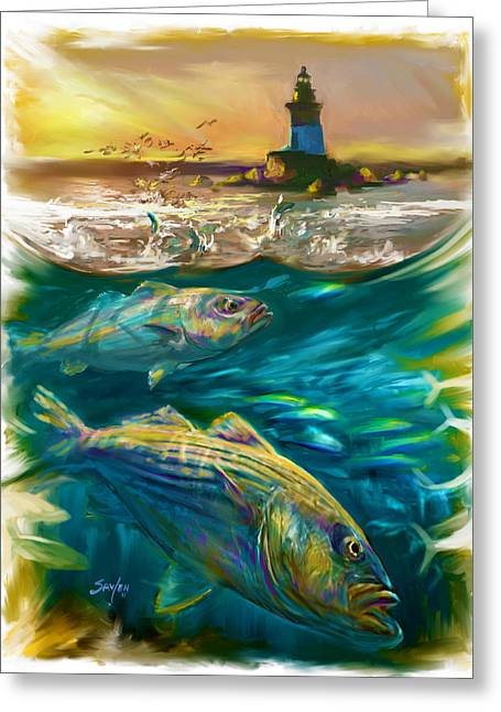 New England Ocean Greeting Cards - Striper and Lighthouse - Striped Bass Art Greeting Card by Mike Savlen