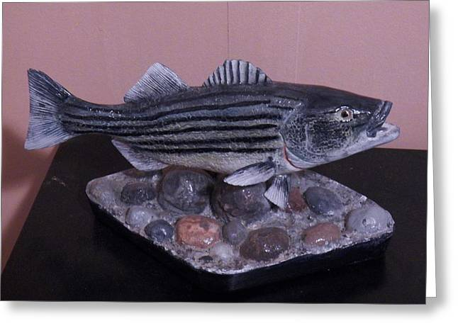 Stripes Sculptures Greeting Cards - Striper Greeting Card by Richard Goohs