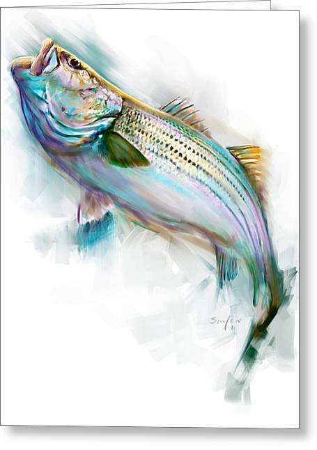 Wildlife Pictures Greeting Cards - Striper Rise Greeting Card by Savlen Art