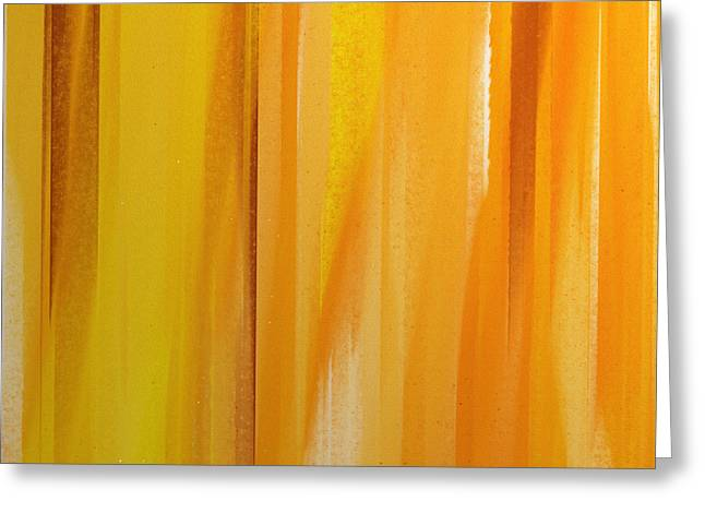 Orange And Brown Designs Greeting Cards - Stripes 1 Abstract Square Greeting Card by Andee Design