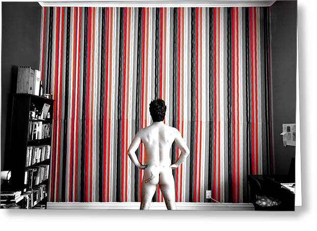 White Curtain Greeting Cards - Stripes Greeting Card by Mountain Dreams