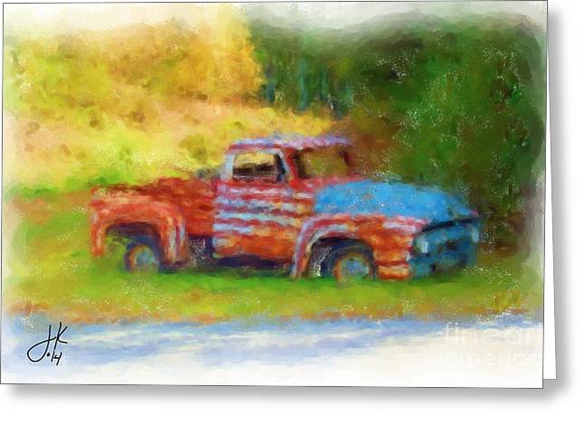 Rural Maine Roads Greeting Cards - Stripes of Red White and Rust Greeting Card by Julie Knapp