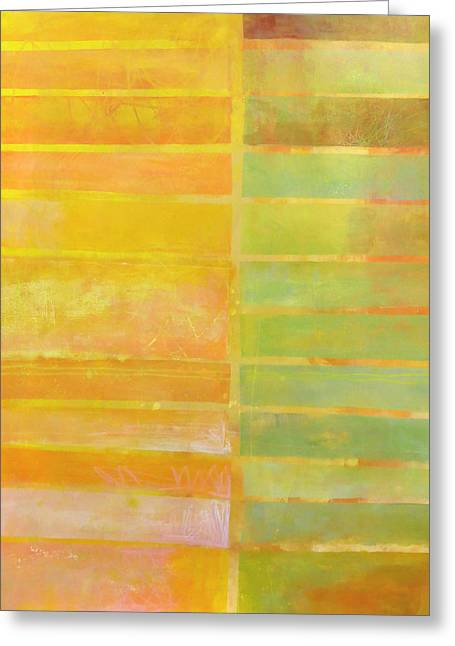 Stripes Greeting Cards - Stripes Yellow Greeting Card by Jane Davies