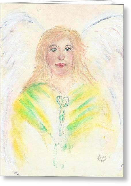 Guardian Angel Pastels Greeting Cards - Stripey angel with green eyes Greeting Card by Karen J Jones