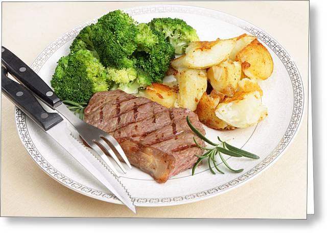 Broccoli Greeting Cards - Striploin steak meal Greeting Card by Paul Cowan
