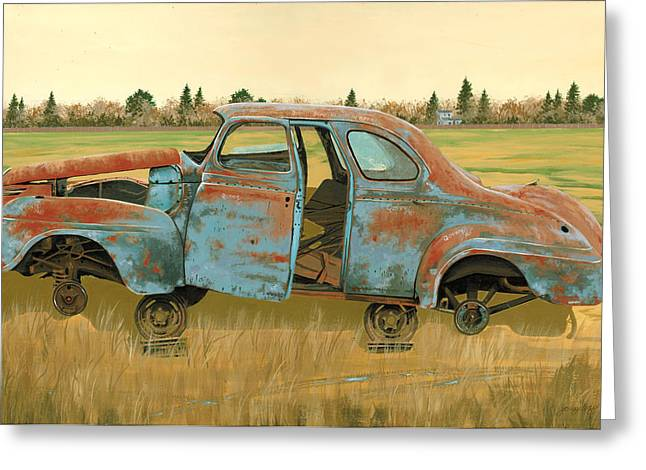 Rusted Cars Paintings Greeting Cards - Stripped Down Greeting Card by John Wyckoff