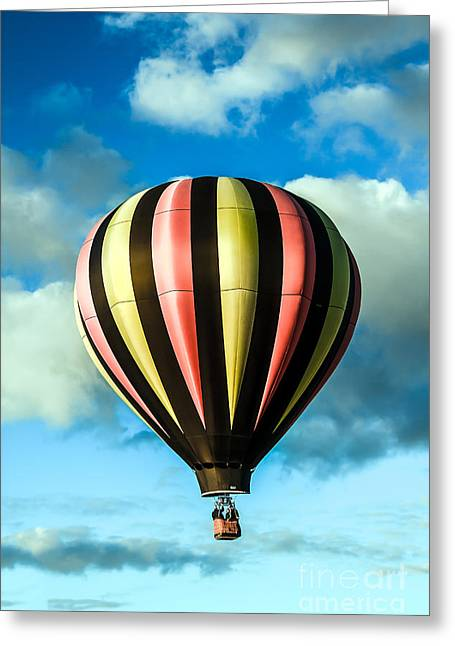 Stripped Hot Air Balloon Greeting Card by Robert Bales