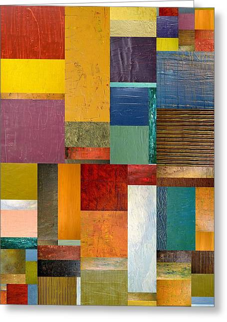 Color Compilation Greeting Cards - Strips and Pieces ll Greeting Card by Michelle Calkins