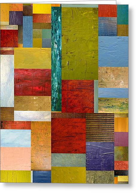 Color Compilation Greeting Cards - Strips and Pieces lll Greeting Card by Michelle Calkins