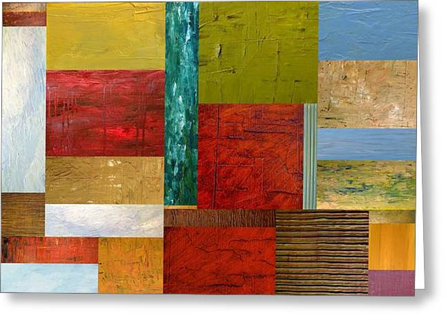 Strips and Pieces lll Greeting Card by Michelle Calkins