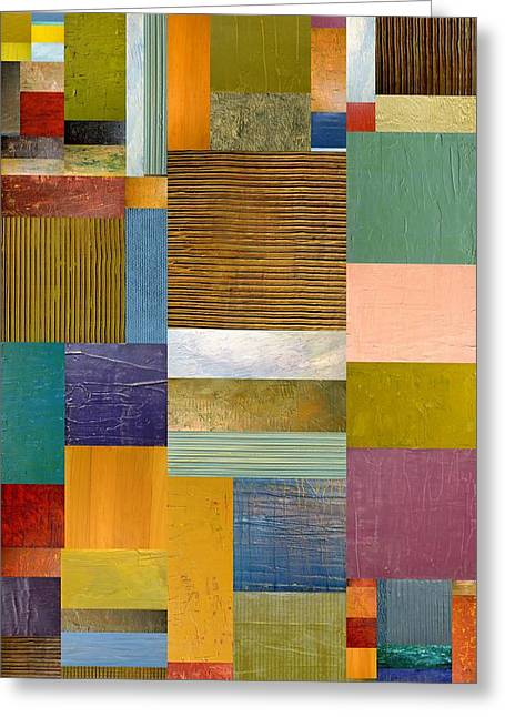 Color Compilation Greeting Cards - Strips and Pieces lV Greeting Card by Michelle Calkins