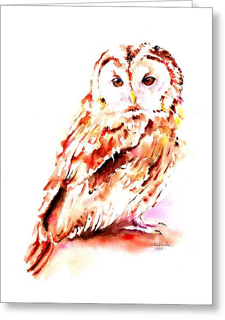 Nocturnal Animal Print Greeting Cards - Strix aluco Greeting Card by Isabel Salvador